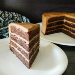 Mocha cake with milk chocolate frosting