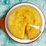 Orange syrup semolina cake (orange eggless rava cake)